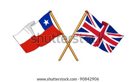 Alliance and friendship between Chile and United Kingdom - stock photo