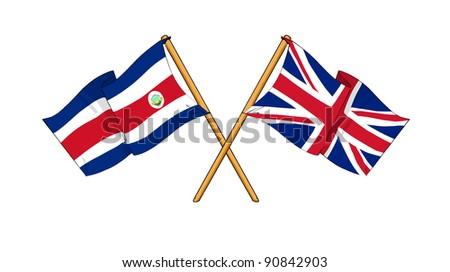 Alliance and friendship between Costa Rica and United Kingdom - stock photo