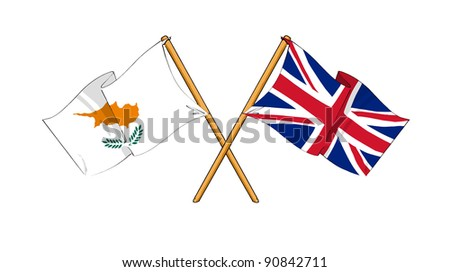 Alliance and friendship between Cyprus and United Kingdom - stock photo