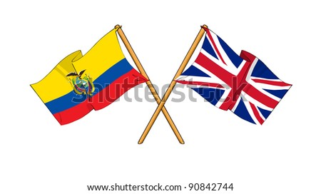 Alliance and friendship between Ecuador and United Kingdom - stock photo