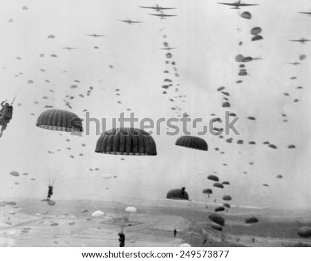 Allied aircraft drop paratroopers into German held Netherlands, for Operation Market Garden. The plan to capture key bridges in Netherlands failed with 15,000 Allied casualties. - stock photo