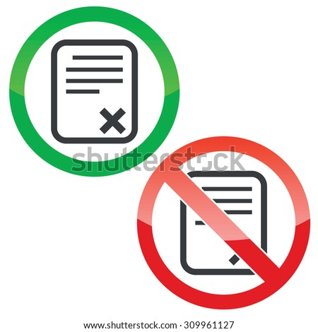 Allowed and forbidden signs with document with cross, isolated on white - stock photo