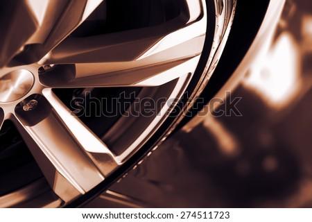 Alloy Car Wheel Closeup. Modern Car Wheel.  - stock photo