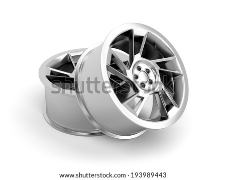 Alloy rims on white background - stock photo