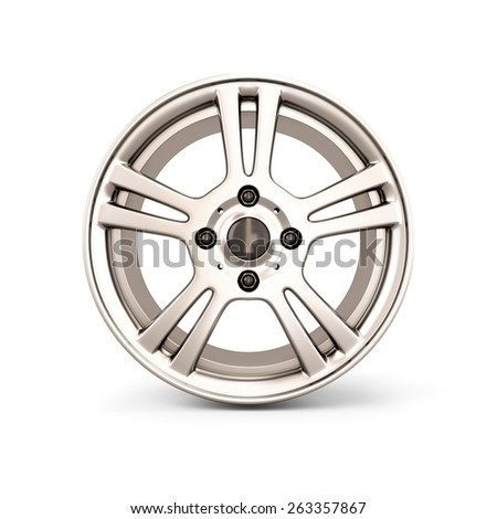 Alloy Wheel Rim front view isolated on white background. 3d illustration. - stock photo