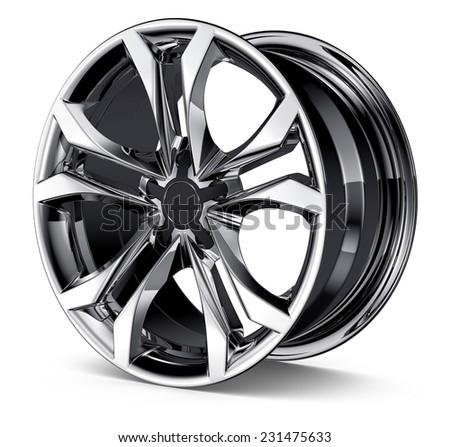 Alloy Wheel Rim isolated on white  - stock photo