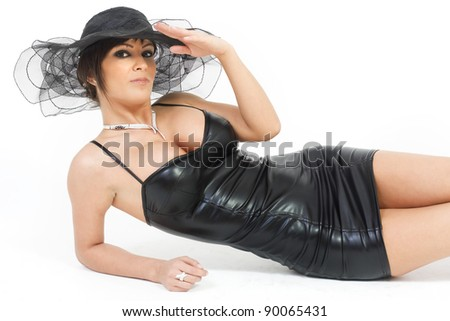 Alluring brunette with sexy body - stock photo