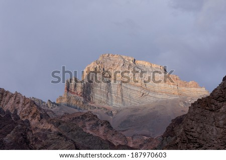 Almacenes mountain. View from Confluencia base camp on Aconcagua Provincial Park, Mendoza, Argentina, South America.  - stock photo