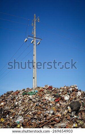 Almada, Portugal 2014: Pile of waste and trash for recycling or safe disposal,  - stock photo