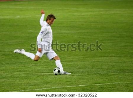 ALMATY - JUNE 6: Footballer Beckham participates Kazakhstan v England, FIFA World Cup European Qualifying, Group Six, 6th June 2009 - stock photo
