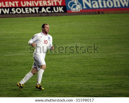 ALMATY - JUNE 6: Footballer Rooney participates Kazakhstan v England, FIFA World Cup European Qualifying, Group Six, 6th June 2009 - stock photo
