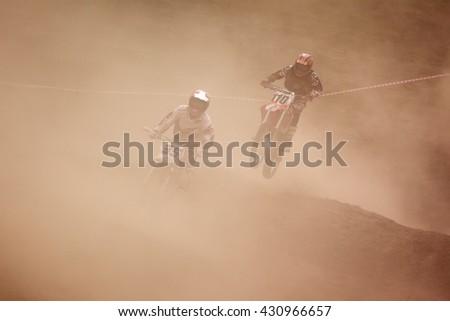 ALMATY, KAZAKHSTAN - APRIL 10,2011: Motocross competition - stock photo
