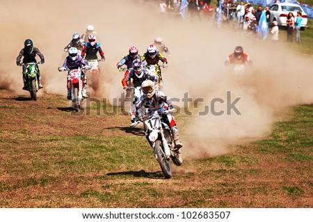 "ALMATY, KAZAKHSTAN - APRIL 22: Motocross competition ""Fabrichny Cup""- Open Championship of Kazakhstan, on April 22, 2012 in Almaty, Kazakhstan. - stock photo"