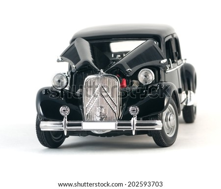 Almaty, Kazakhstan - February 23, 2014: Black vintage retro car isolated on white background - stock photo