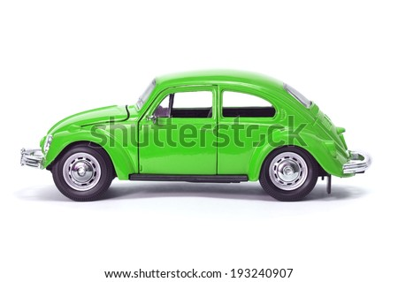 Almaty, Kazakhstan - February 15, 2014: Collectible toy model car Volkswagen Beetle. - stock photo