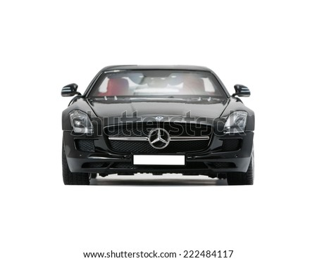 ALMATY, KAZAKHSTAN - june 22, 2014 - Collectible toy car Mercedes-Benz SLS Sedan  isolated on white background - stock photo