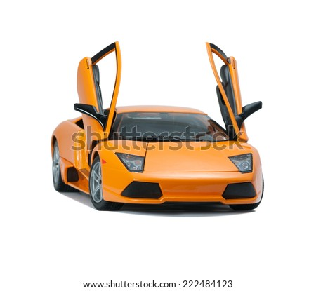 Almaty, Kazakhstan - June 17, 2014: Collectible toy model Lamborghini Murcielago LP640  front view  with open doors on white background - stock photo