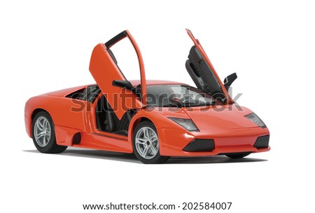 Almaty, Kazakhstan - June 17, 2014: Collectible toy model Lamborghini Murcielago LP640   on white background - stock photo