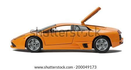 Almaty, Kazakhstan - June 17, 2014: Collectible toy model Lamborghini Murcielago LP640 with an open hood on white background - stock photo