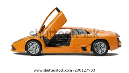 Almaty, Kazakhstan - June 17, 2014: Collectible toy model Lamborghini Murcielago LP640   with open doors on white background - stock photo