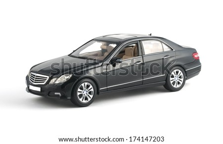 ALMATY, KAZAKHSTAN - OCTOBER 27, 2013 - Collectible toy Mercedes-Benz E-Class E350 Sedan isolated on white background - stock photo