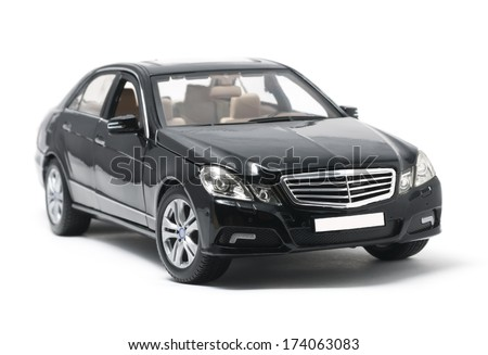 ALMATY, KAZAKHSTAN - OCTOBER 29, 2013 - Collectible toy Mercedes Benz isolated on white background - stock photo