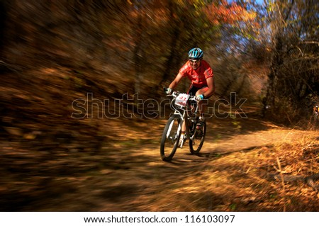 ALMATY, KAZAKHSTAN - OCTOBER 14: T.Dauranov (N41) in action at cross-country mountain bike 'Apple race' October 14, 2012 in Almaty, Kazakhstan. - stock photo