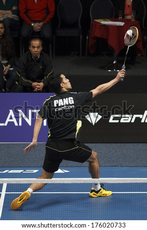 ALMERE - FEBRUARY 2: Eric Pang wins the gold medal in the National Championships badminton 2014 in Almere, The Netherlands on February 2, 2014. - stock photo