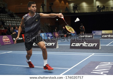 ALMERE - FEBRUARY 1: Justin Teeuwen loses his match in the quarter finals in the National Championships badminton 2014 in Almere, The Netherlands on February 1, 2014. - stock photo