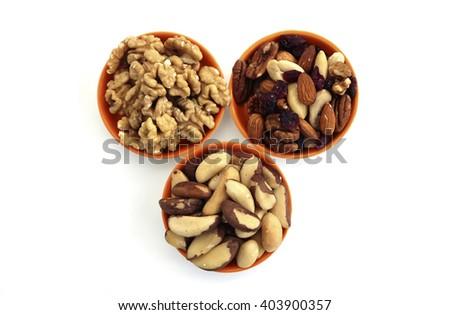 Almond, Brazilian and Walnuts  - stock photo
