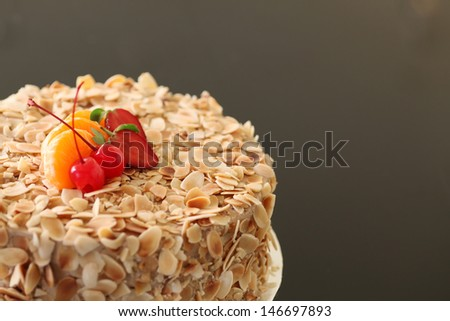 almond cake with strawberry on top - stock photo