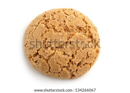 almond cookie on white background - stock photo