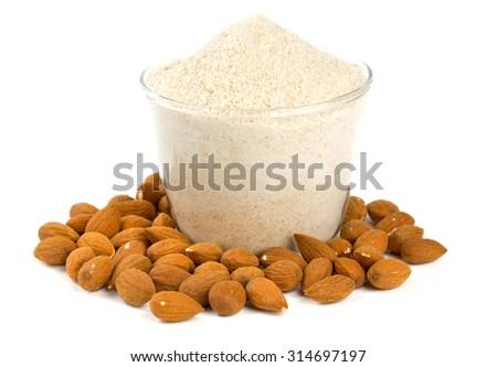 almond flour isolated on white - stock photo
