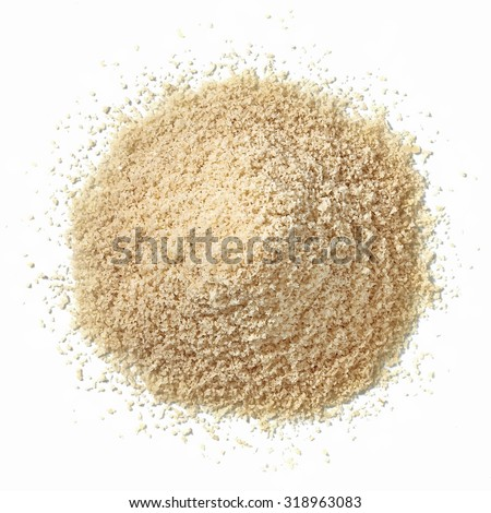 Almond flour pile top view isolated on white background - stock photo
