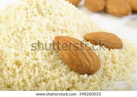 almond flour with almond  - stock photo