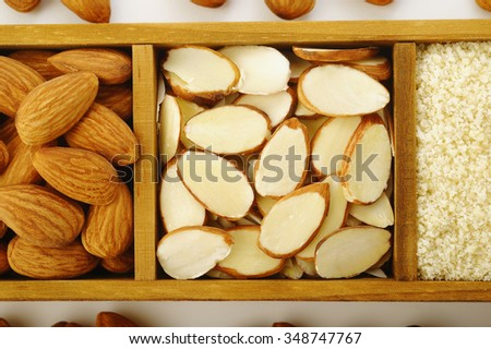 almond flour with almond sliced - stock photo