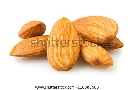 almond group on white background - stock photo