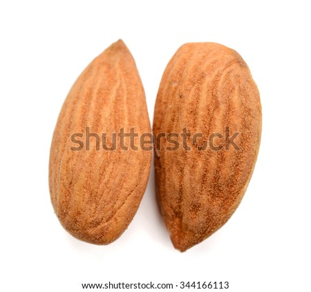 almond nuts on white background  - stock photo