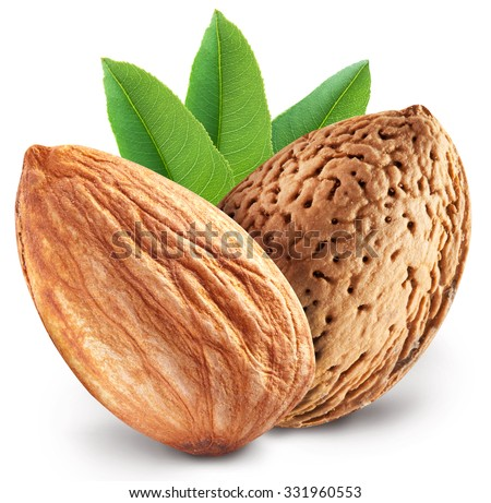 Almond nuts with leaves. File contains clipping paths. - stock photo