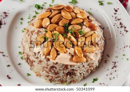 Almond rice. - stock photo