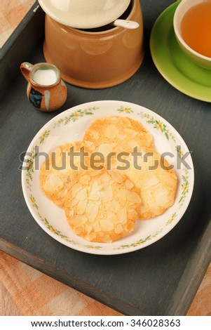 Almond soft cookies on the plate    - stock photo