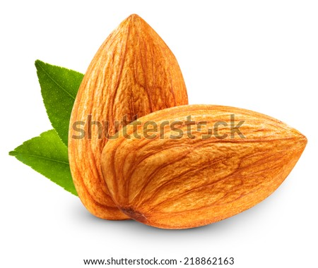 Almond with leaves isolated on white background  - stock photo