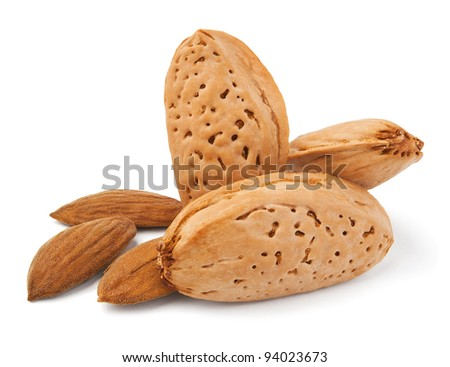 almonds against white background - stock photo
