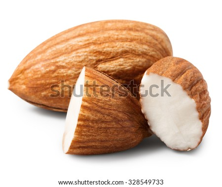 Almonds nut with halves isolated on white - stock photo