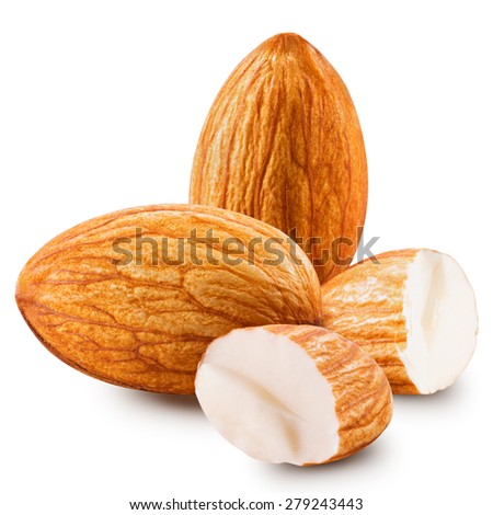 almonds nuts isolated - stock photo