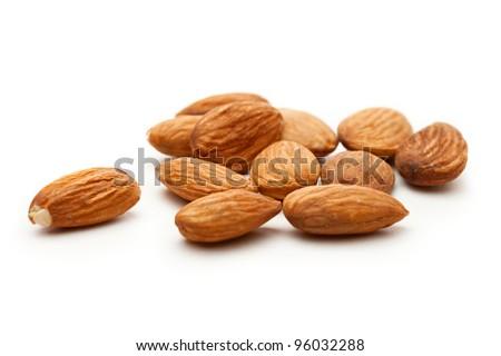 Almonds on the white background - stock photo