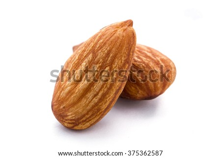 Almonds seed isolated on white background. - stock photo