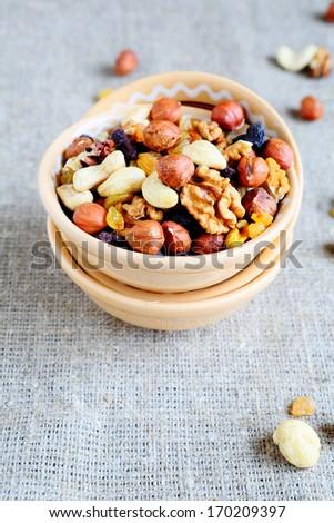 Almonds, walnuts and hazelnuts, food closeup - stock photo