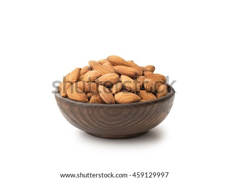 Almonds with wooden bowl , isolated on white - stock photo