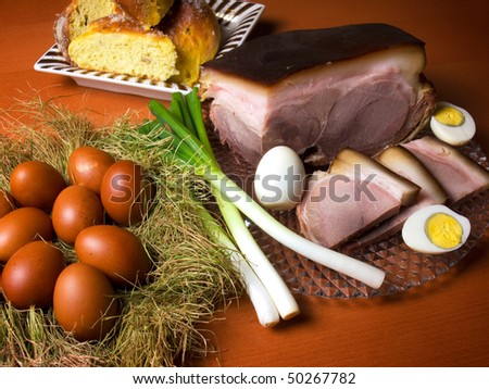 Almost everything you need to have on the table for Easter... - stock photo